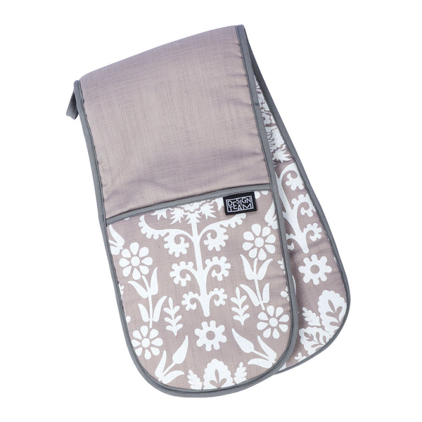 Silver damask oven gloves