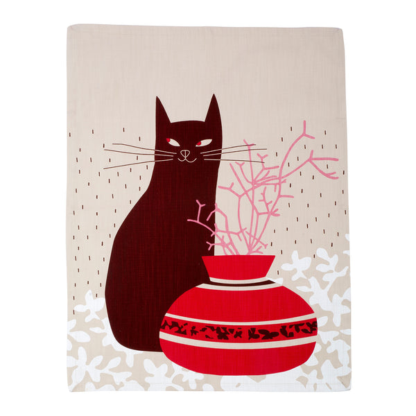Cool Cat Claret tea towel