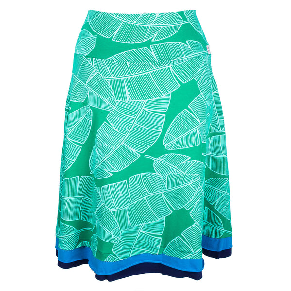 A-line Green banana leaf skirt