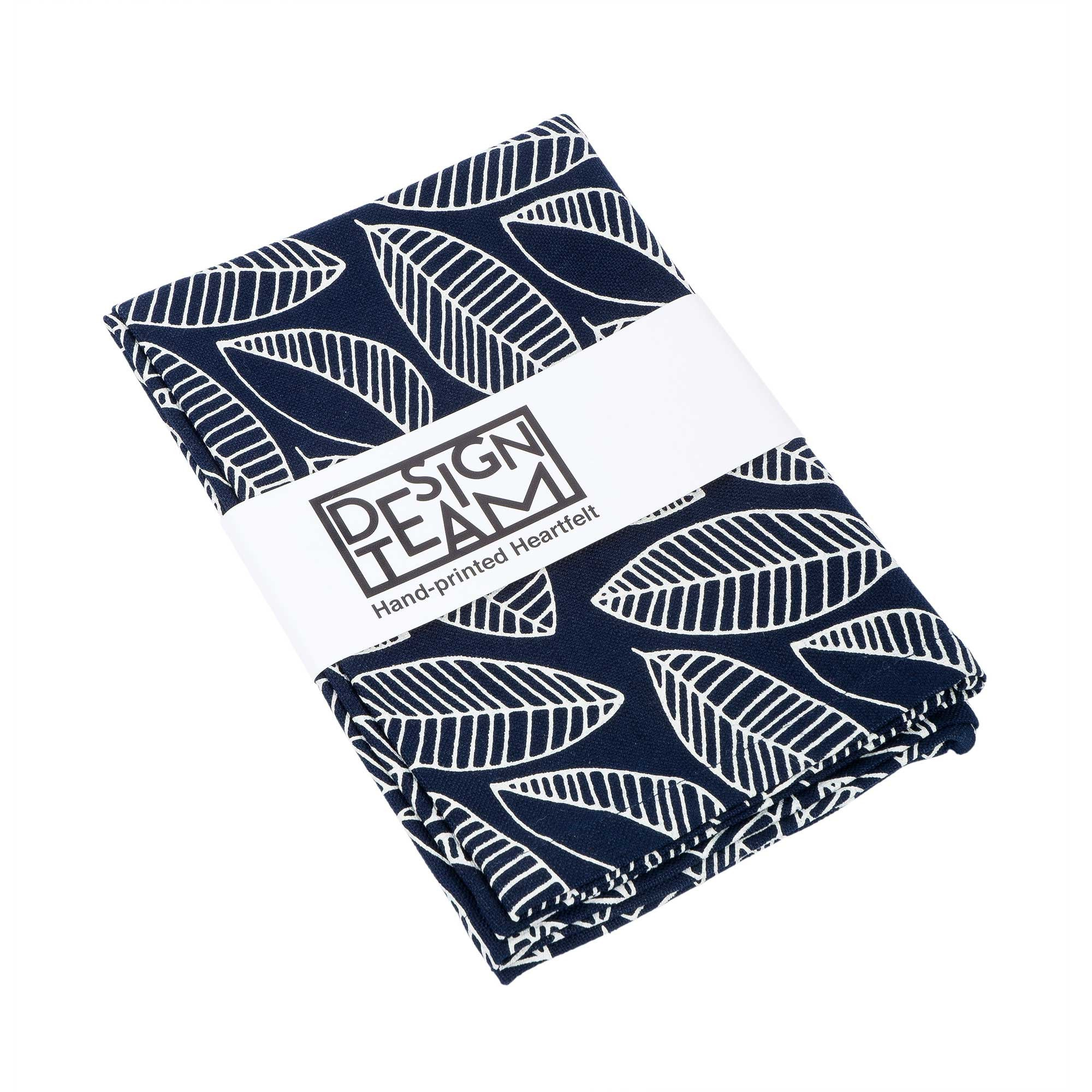 Navy foliage tea towel