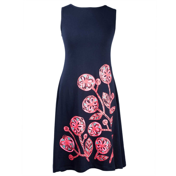 Pink Flowers Jeanette flare dress