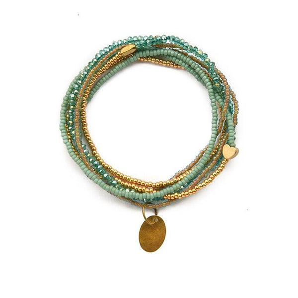 Aqua & gold heartstring necklace