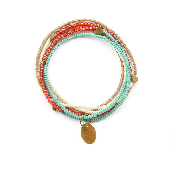 Aqua & red heartstring necklace
