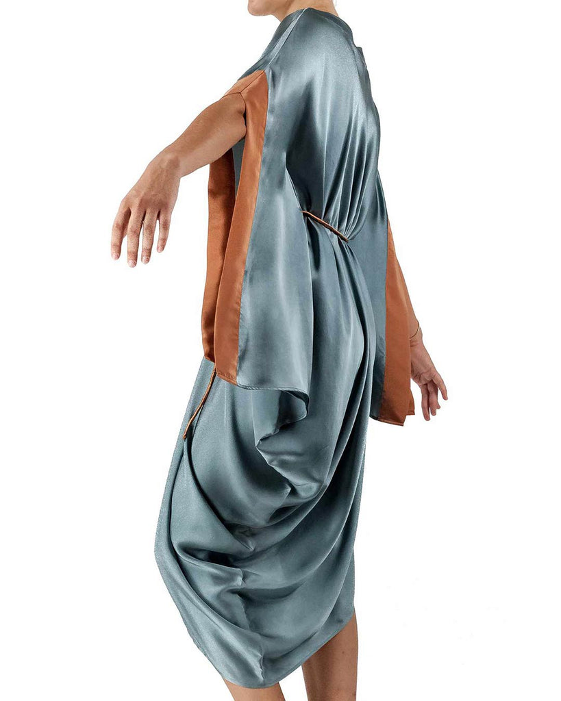 This highly curated dress enhances your silhouette with a light touch of ancient Roman majesty.