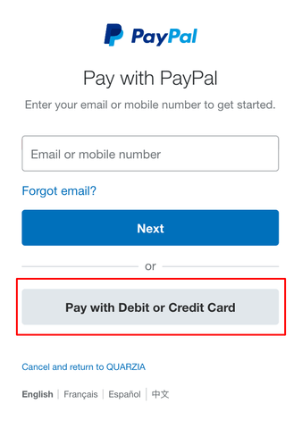 pay with card, no need to have a paypal account