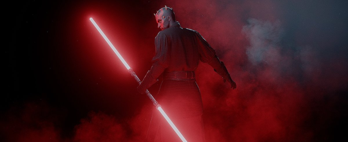 Darth Maul holding his Double Lightsaber