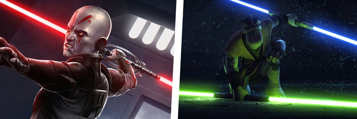 Pong Krell and the Grand Inquisitor with Double Lightsabers
