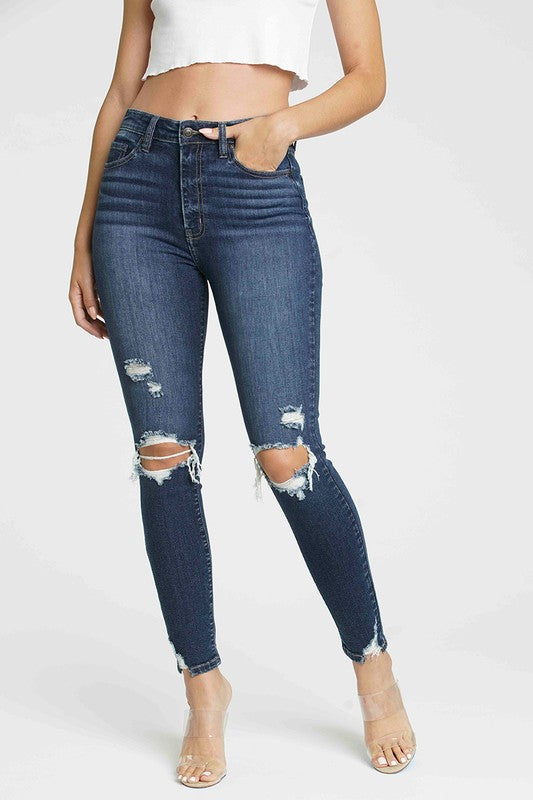 Dark wash distressed high rise skinny jeans