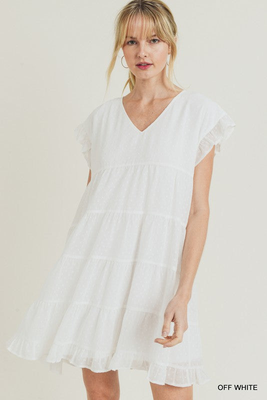White swiss dot tiered dress