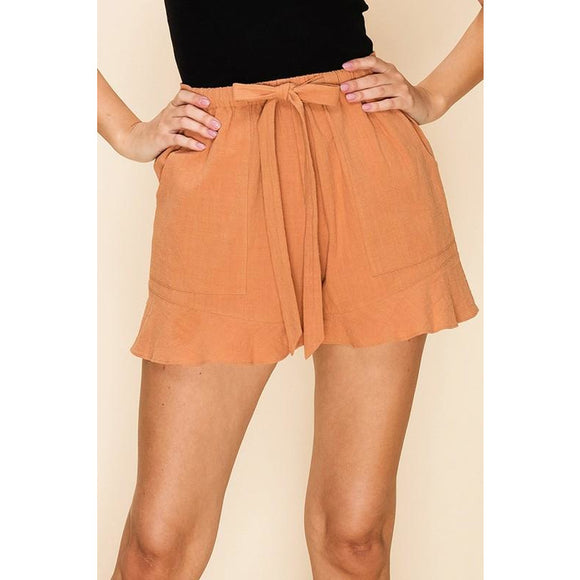 Almond ruffle trim shorts
