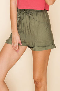 Olive front pocket drawstring shorts