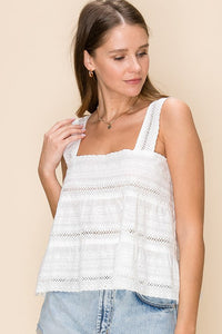 Embroidered babydoll cami top