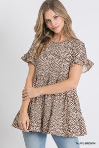 Leopard ruffle tiered top