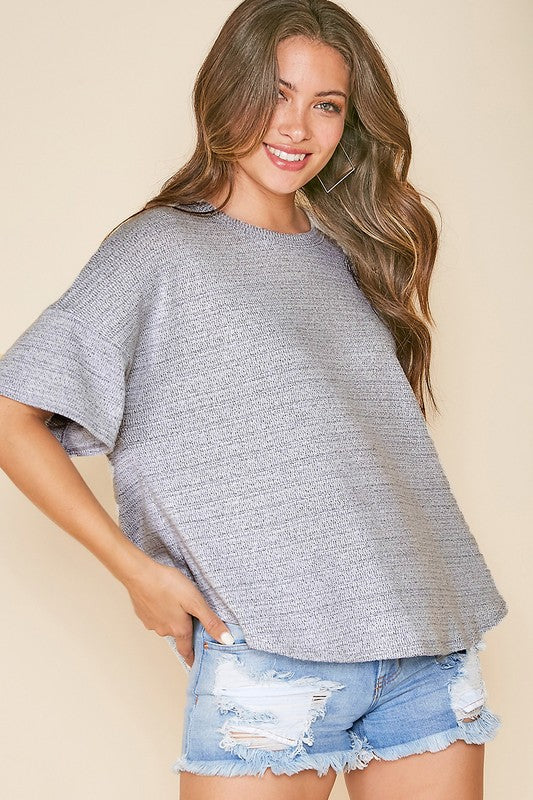 Two tone grey back cutout detail top