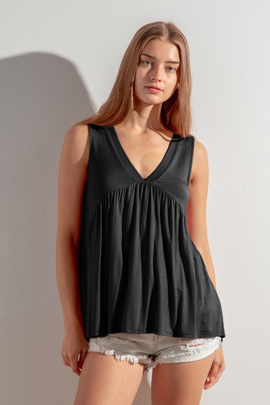 Sleeveless V neck baby doll top