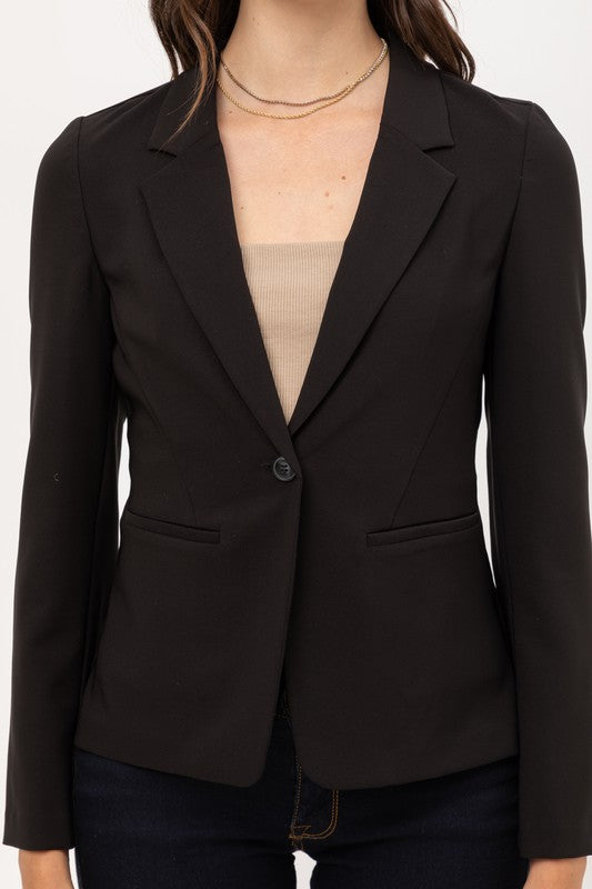 Black fitted one button blazer