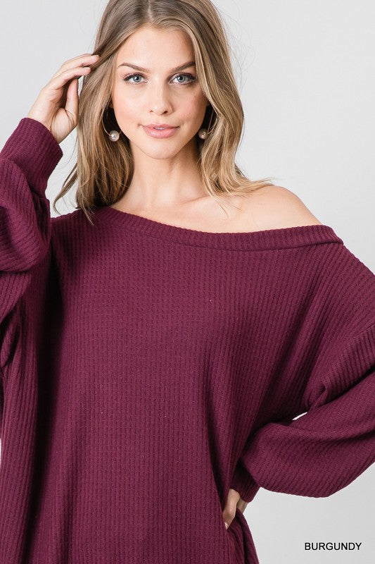 LS waffle knit one shoulder top
