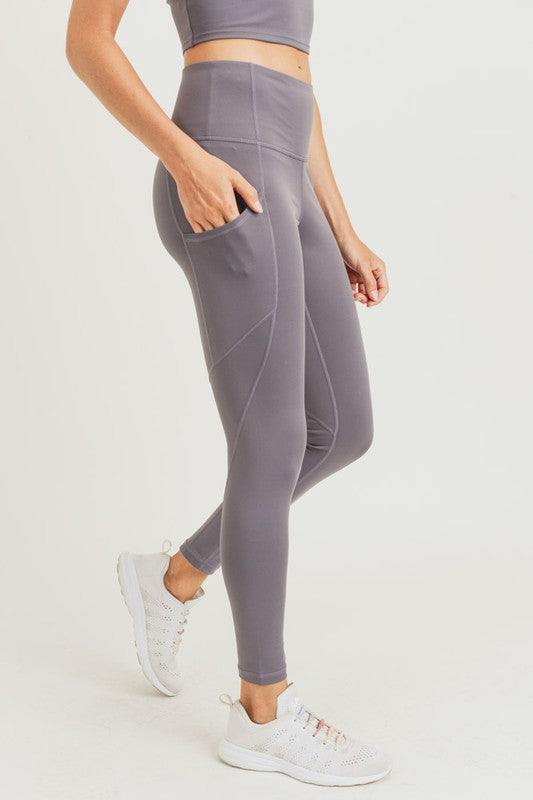 Slanted panel high waist leggings
