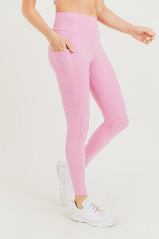Pink sweetheart back high waist leggings