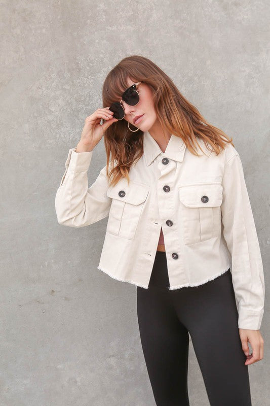 Natural button front jacket