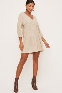 Oatmeal tiered LS dress