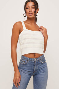 Cream cropped wide strap sweater tank