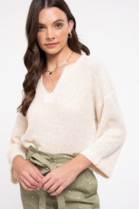 Notch front cuffed sleeve top