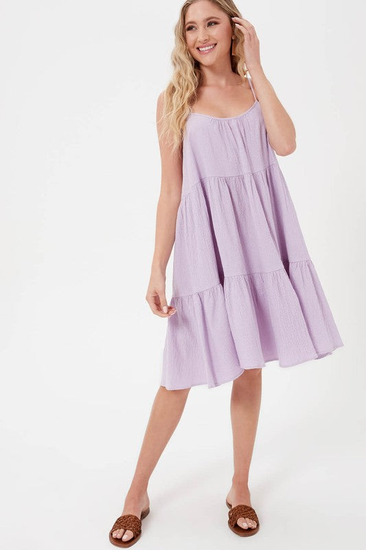 Lavender sleeveless tiered dress