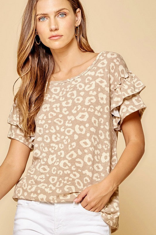 Taupe leopard print ruffle sleeve top