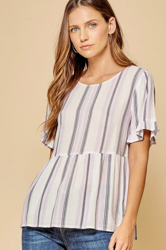 Lavender & navy striped babydoll top