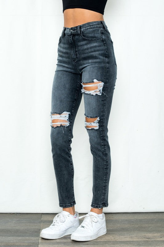 Black distressed high rise tomboy jeans