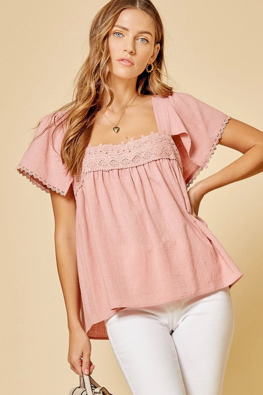 Lace detail babydoll tie back top