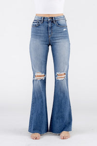 High rise wide flare distressed jeans