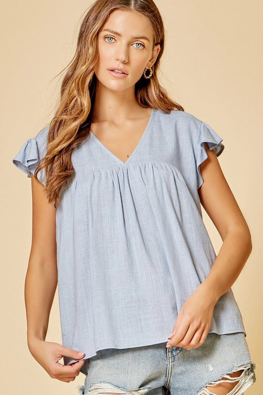 Flutter sleeve V neck babydoll top