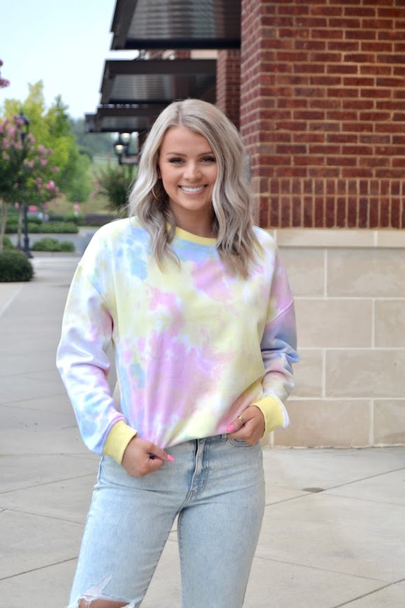 Multi color tie dye sweatershirt