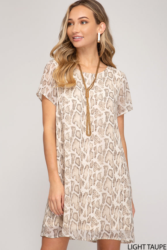 SS reptile print shift dress