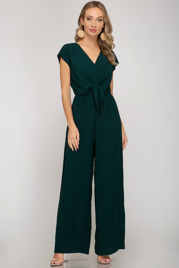 Sea green SS tie front jumpsuit