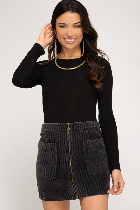 Charcoal corduroy zip front skirt