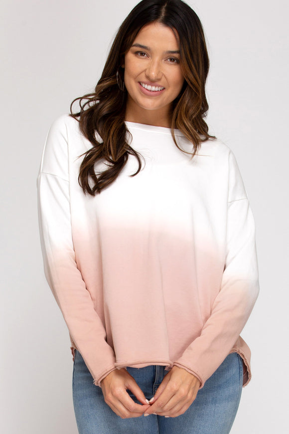 Rose dip dyed terry pullover