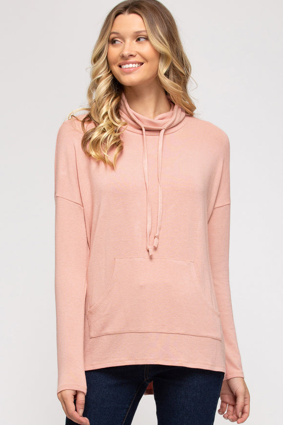 LS drawstring cowl neck front pocket top