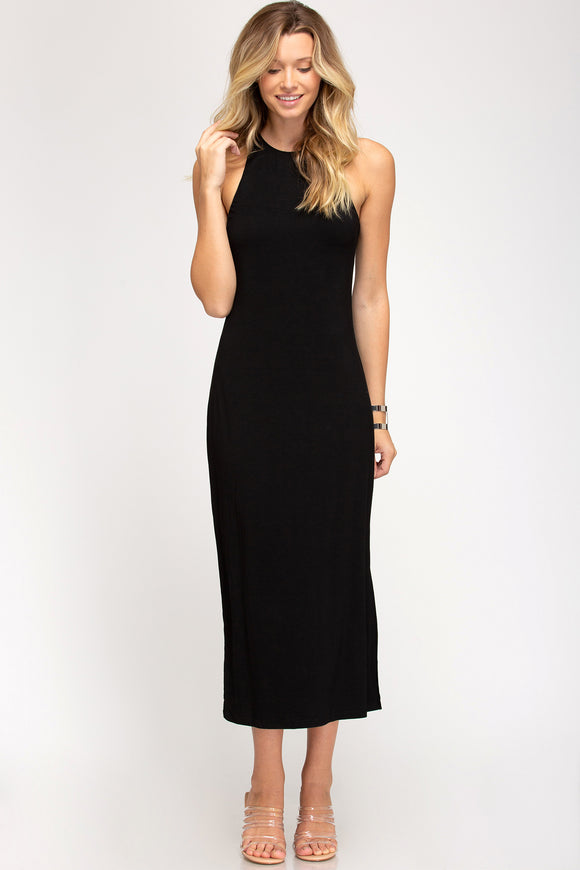 Black sleeveless midi side slit dress