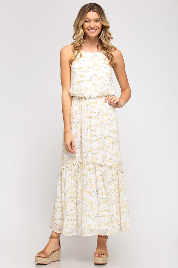 Cream floral print halter neck maxi dress