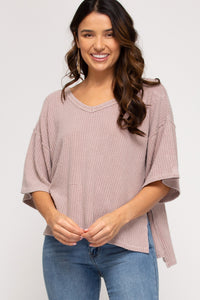 Garment dyed V neck waffle top
