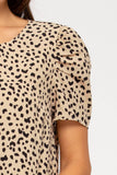 Taupe print short puff sleeve dress
