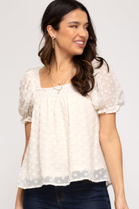 Puff sleeve smocked woven top