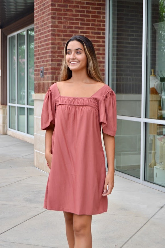 Rose square neck dress