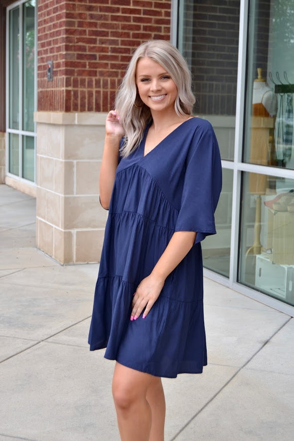 Navy babydoll 3 tier dress