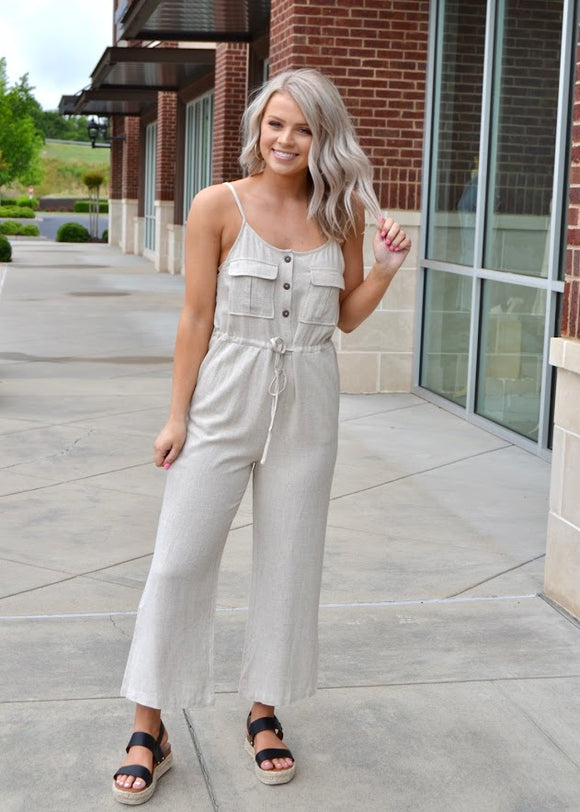 Oatmeal wide leg jumpsuit