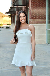 White cami ruffle detail dress