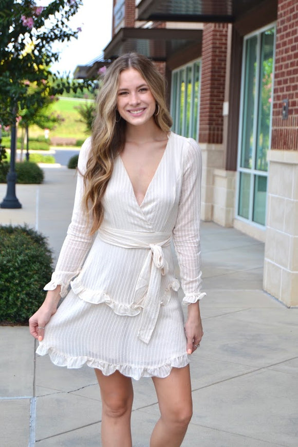 Cream deep V LS dress